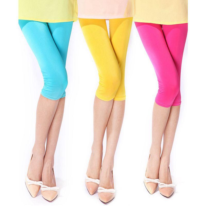 Fashion Render Pants Women's Summer Elastic Thin Candy Color   Leggings   Seven Pants Pencil Pants For   leggings   Women