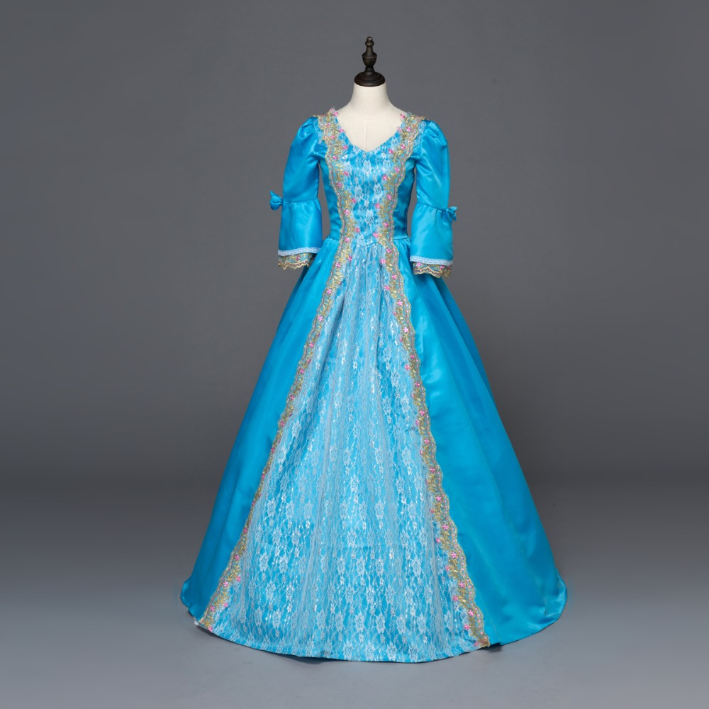 Blue Southern Belle Ball Gown Dress Reenactment Clothing Medieval ...