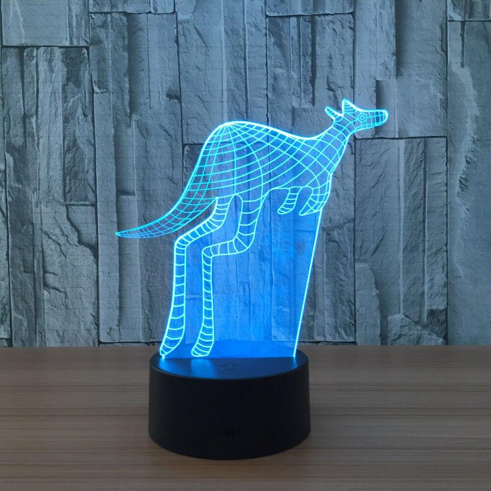 Kangaroo 3D Lamp 7 Colors Led Night Lights for Kids Touch USB Table Lampara Lampe Baby Sleeping Tablelamp Birthday Gift Decor