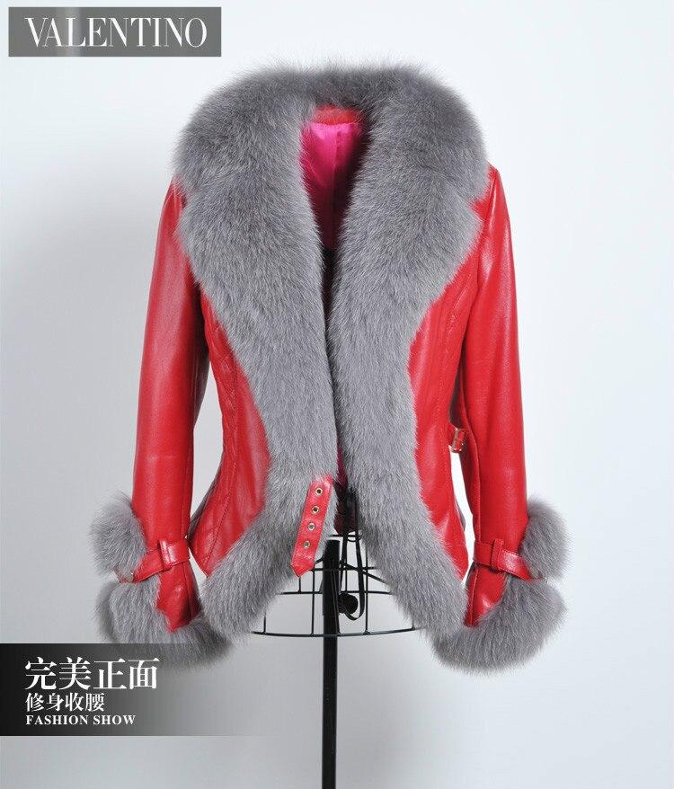 red Col Femmes Vk1344 Automne Fourrure Manteau Vestes Manteaux Black En Lady Printemps Peau Renard De Véritable Cuir Court Slim Vêtements topfurmall Mouton E17Hwqn