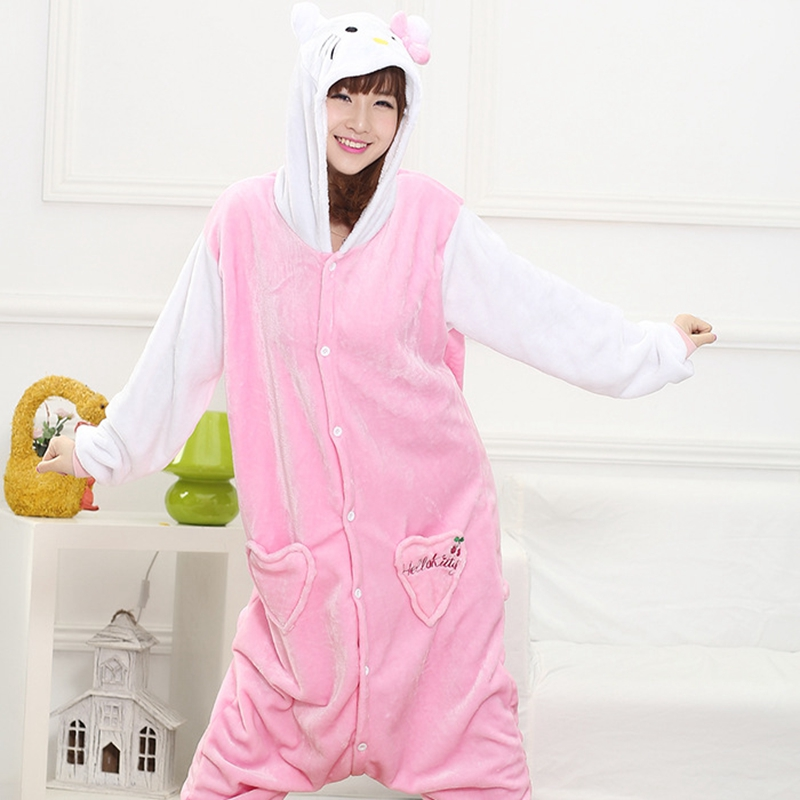 Mother Father Daughter Boy Dresses Family Matching Sleepwear Hooded Pajama Cartoon Animal Hello Kitty Cat Cosplay Pyjama Pijamas