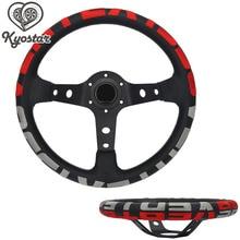 13 «дюймовый универсальный для автомобиля race кожа руль Красный Серый Глубокий Кукуруза 340 мм с черная ручка замшевое рулевое колесо