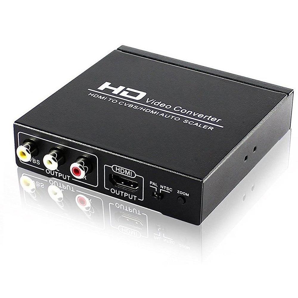 HD Video Converter HDMI TO CVBS AV/HDMI AUTO SCALER Support NTSC/ PAL for TV,VHS, VCR,DVD recorders HDCP code цена