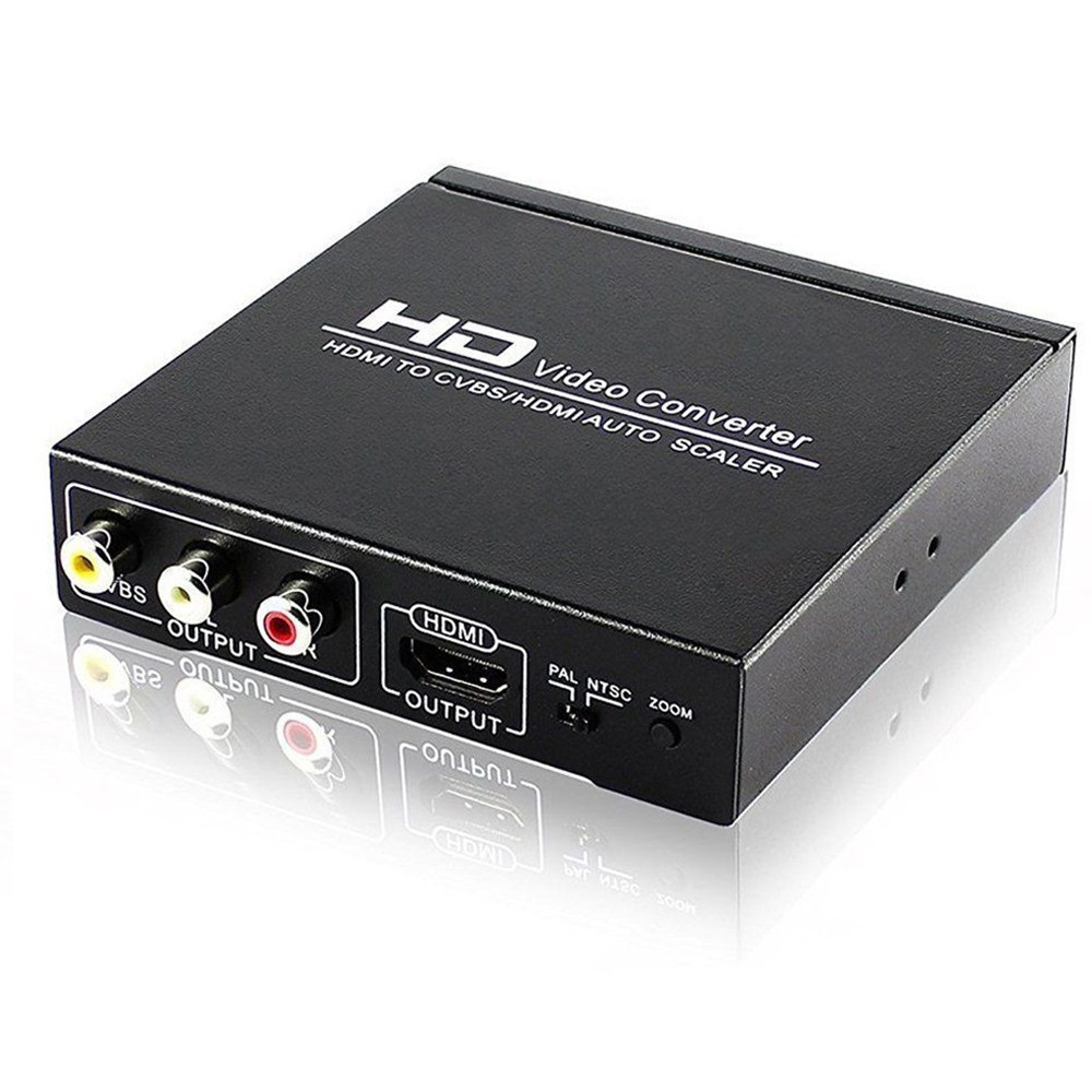 HD Video Converter HDMI TO CVBS AV/HDMI AUTO SCALER Support NTSC/ PAL for TV,VHS, VCR,DVD recorders HDCP code