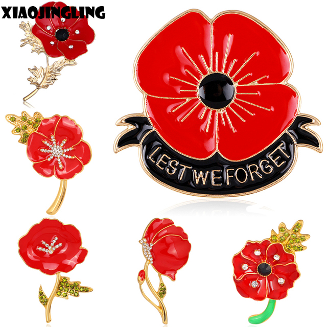 Xiaojingling banquet enamel remembrance red poppy flower lapel pin xiaojingling banquet enamel remembrance red poppy flower lapel pin brooch broach badge varieties design for women mightylinksfo