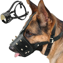 Cool Spiked Studded Pu Leather Dog Muzzle Anti Biting Padded Dogs Traning Muzzle No Bark Pet Mask For Pitbull Labrador