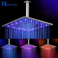16 Inch Rain Led Shower Head With Ceiling Shower Arm.Water Power 3 Colors Change 40CM*40CM Led Showerhead. Led Chuveiro ducha