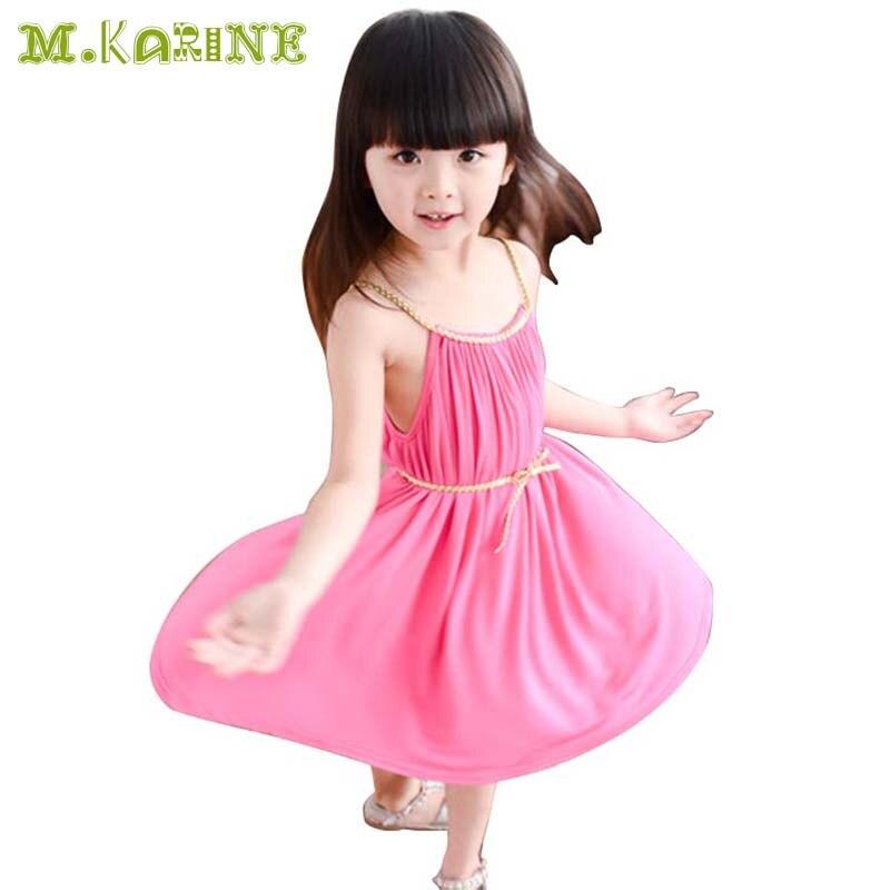 Hot Sale 2015 Summer Cute Little Girls Beach Dresses Toddler Kids Pleated Sleeveless Bohemia Mermaid Princess Dress with Sashes