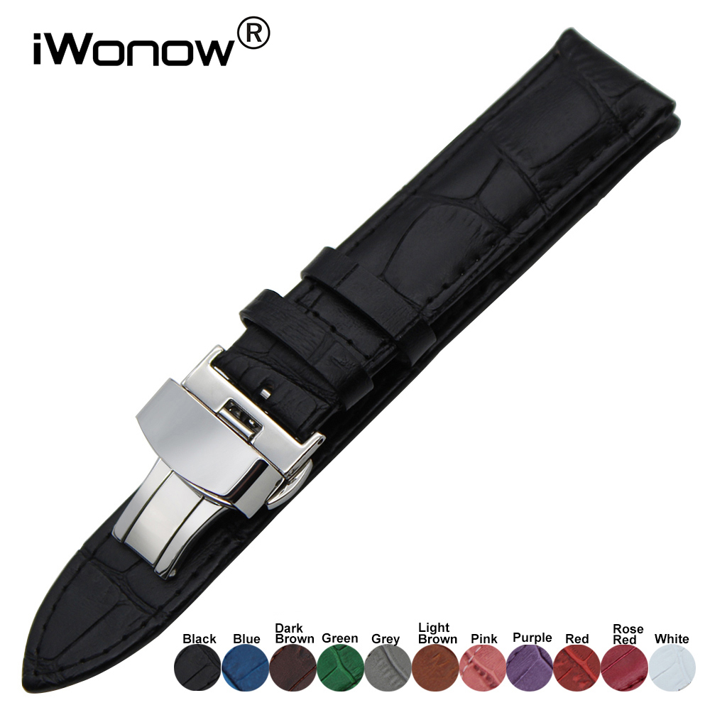 Genuine Leather Watch Band for Casio Seiko Citizen Diesel Fossil Steel Clasp Belt Wrist Strap 18mm 19mm 20mm 21mm 22mm 23mm 24mm quick release silicone rubber watch band wrist strap for citizen seiko casio hamilton 17mm 18mm 19mm 20mm 21mm 22mm 23mm 24mm