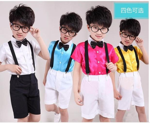 Color Children's Day Boys Chorus Students Stage Costumes Performance Clothing Overalls Suit Shirt