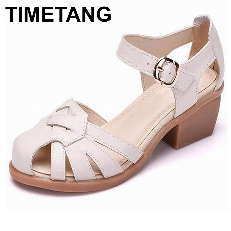 TIMETANG Women shoes summer sandals female handmade genuine leather women casual comfortable woman shoes sandals women