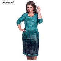 Elegant Autumn Winter Women Dress Big Sizes Women Loose Long Dresses Plus Size Dress Three Quarter