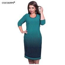 Элегантный осень зима женщины dress большие размеры женщины свободные длинные платья плюс размер dress three четверти casual dress vestidos l-6xl