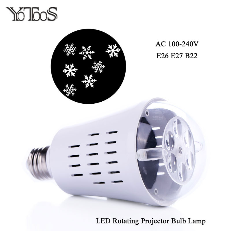 Yotoos E27 E26 Led Projector Bulb Auto Rotate White Snowflake Lighting Effect For Holiday Party Christmas Decoration