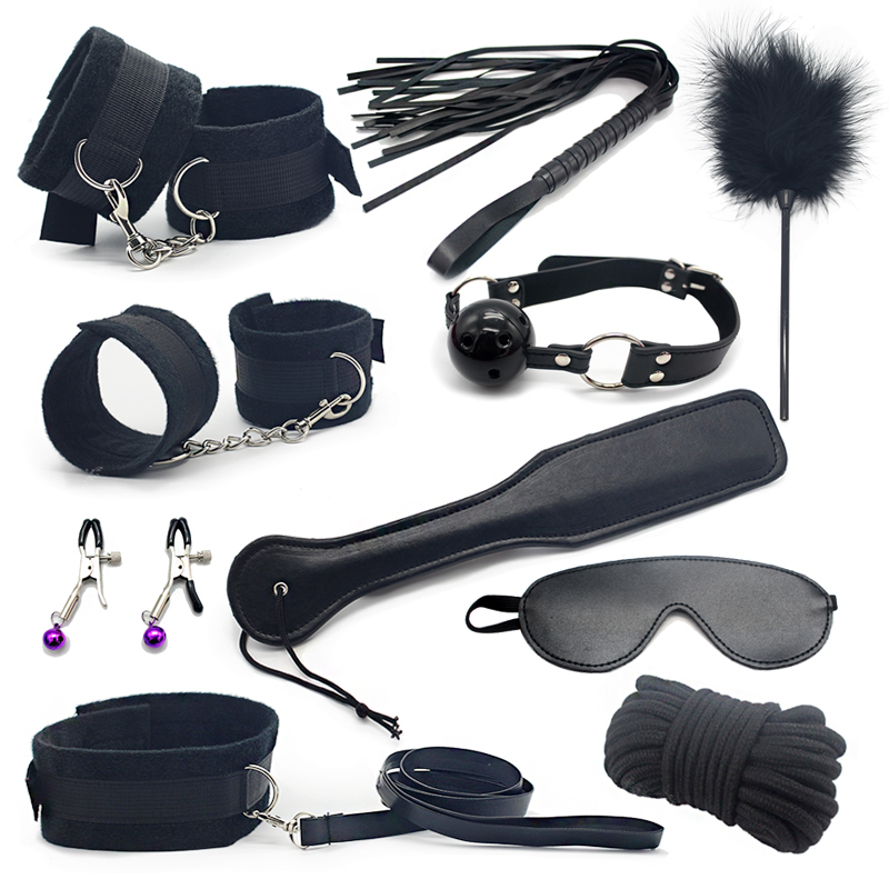 Erotic Toy 10pce/ Set sexy toys Adult Games sex Bondage Restraint, Handcuffs Nipple Clamp Whip Collar sex toys for couples