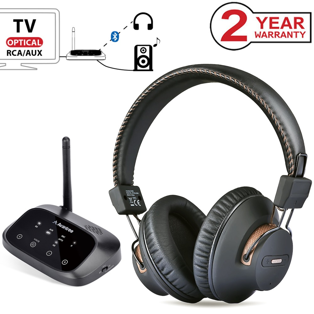 Avantree LONG RANGE Wireless Headphones for TV Watching with Bluetooth Transmitter Support Optical RCA 3 5mm