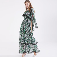 WVLDDBL floor dress colorful printed maxi dress layers dress plus size custom made large size 181209