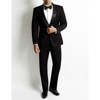 Center Vent Groomsmen Shawl Satin Lapel Groom Tuxedos Black Mens Suits Wedding Best Men Suit (Jacket+Pants+Tie+Hankerchief)