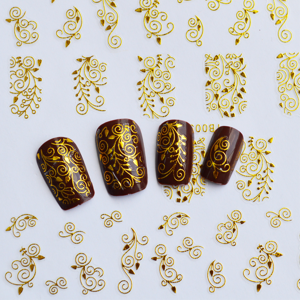 1x 3d nail art stickers hot gold silver