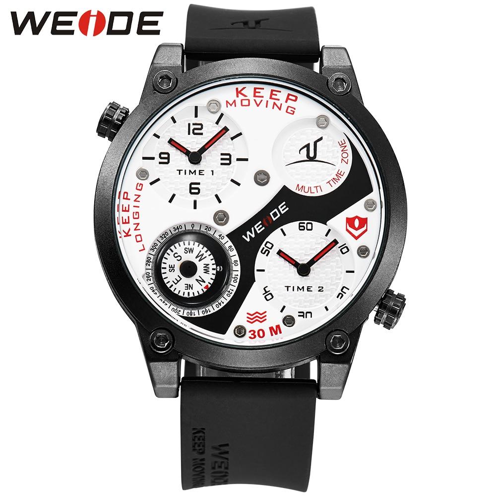 WEIDE Sports Watches Men Dual time Army Military Waterproof Wristwatch Quartz-watch Fashion Big Watch White Red Reloj Hombre цена 2016