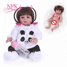 straight hair 48CM bebe doll reborn toddler doll girl  in panda dress  full body soft silicone realistic flexible baby bath toy