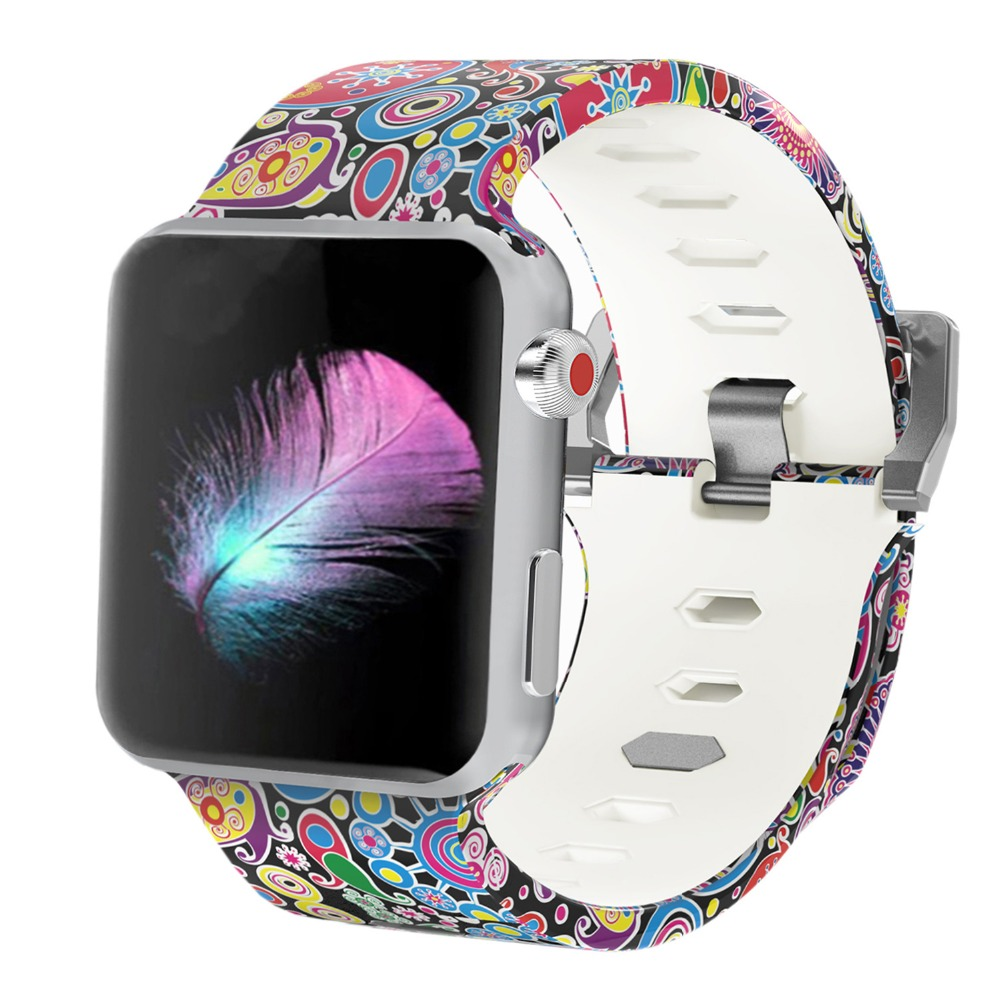 Bemorcabo Print Colorful Sport Watchband For Apple Watch Series 4 3 2 1 Watch Strap 44mm 40mm 38mm 42mm Watch Bracelet
