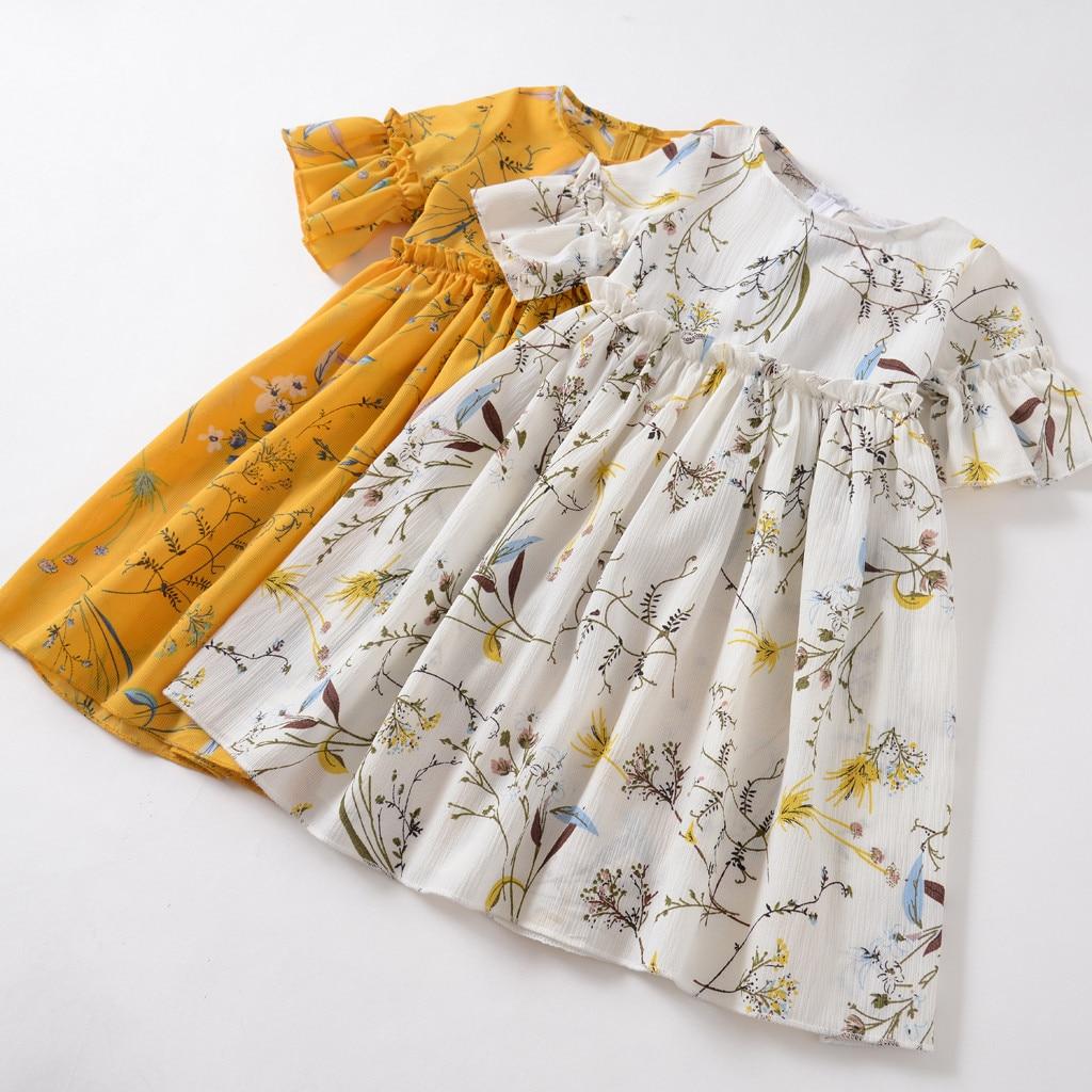 Toddler Girls Dress Summer 2020 Princess Party Dress Girls Flare Short Sleeves Ruched Floral Print dress for girls Vestidos