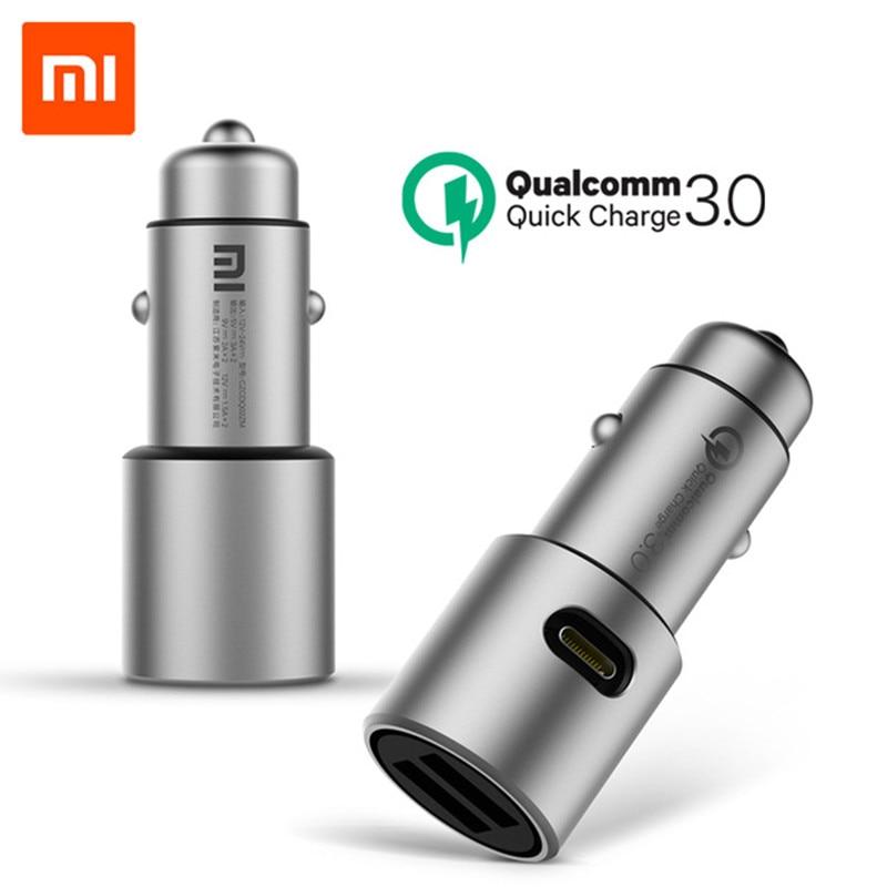 Original Xiao mi Carregador de Carro QC 3.0 Dual USB Carga Rápida 5 V/3A 9 V/2A mi carro-Carregador Para Android iOS Para iPhone Samsung Huawei