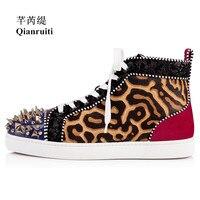 Qianruiti 2019 Men Horsehair Gold Rivets Sneaker Lace up Spike Toe Flat High Top Men Runway Chaussures Hommes Plus Size39 47