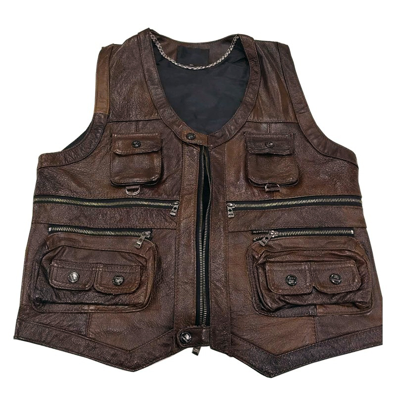 2019 New Daddy Genuine Cow Leather Vest Mens Sleeveless Real Leather Vest Many Pockets Brown Motorcycle Jacket Male Waistcoat