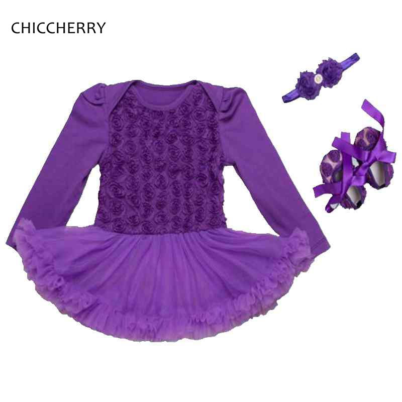 Purple 3D Rose Flower Lace Romper Dress Full Sleeve Baby Girl Dress Headband Crib Shoes Set Vestido Bebe Birthday Party Clothes