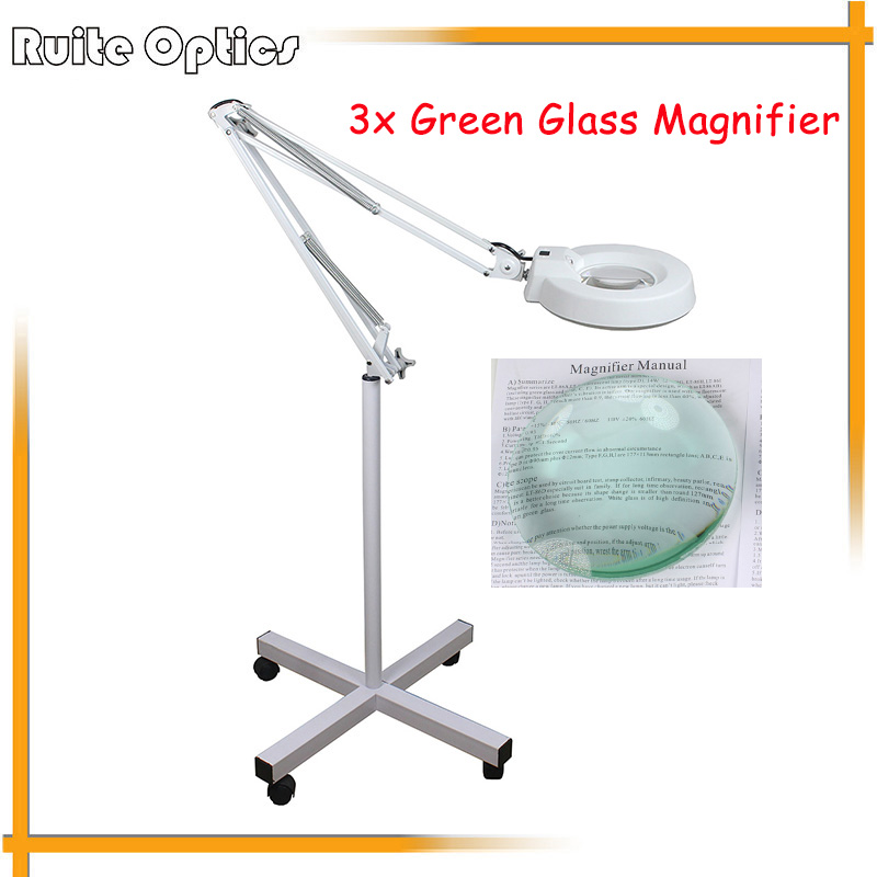220V 3x Floor Stand Green Optical Glass Lens LED Illuminated Big Magnifying Glass Large Lamp Magnifer with LED Light 220v 10x desk clip on led illuminated green optical big magnifying glass led lamp folding stand large magnifier with led lights