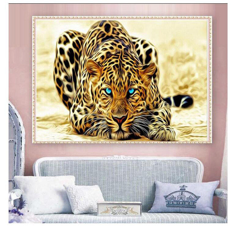 UzeQu 5D DIY Diamond Painting Cross Stitch Cheetah Animal Diamond - Արվեստ, արհեստ և կարի - Լուսանկար 2