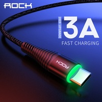 cable samsung galaxy ROCK 3A LED USB Type C Cable for xiaomi Samsung USB-C Mobile Phone Fast Charging Type-C Cable for Oneplus Galaxy S9 S8 Note 9 8 (1)