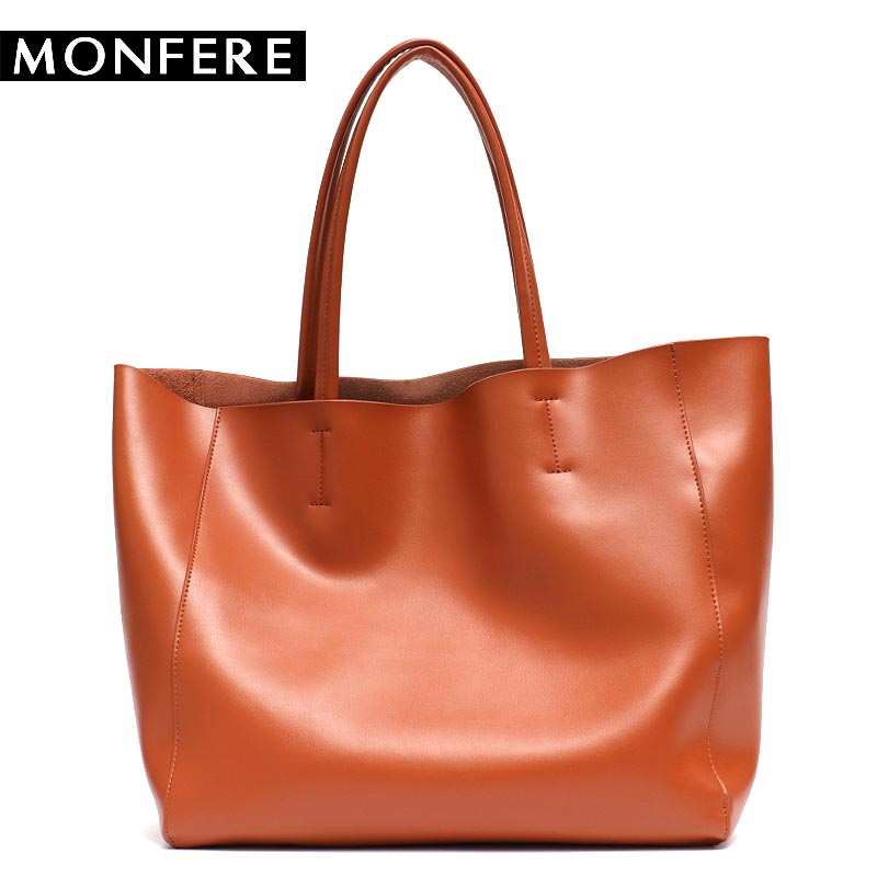 MONFRE Luxury Brand Cow Leather Tote Bags Designer Cowhide Handbags Women Shoulder Bags Fashion Female Large Capacity Liner Bag foxer brand women s cow leather handbags female shoulder bag designer luxury lady tote large capacity zipper handbag for women page 5