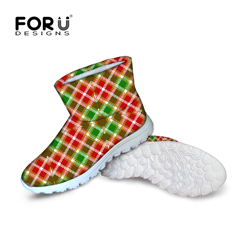 ФОТО FORUDESIGNS Supreme Ankle Snow Boots Women Women's Stripe Pattern Ladies Waterproof Rain Boots Casual Cotton Shoes Flats Boots