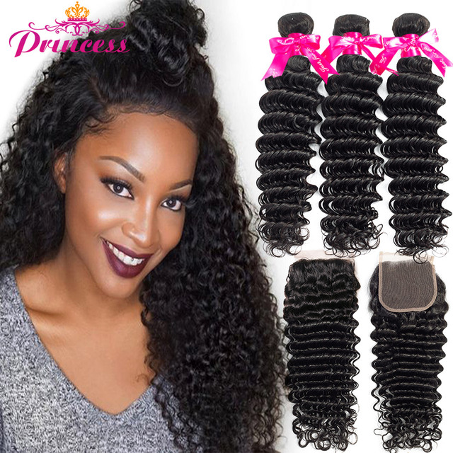 Beautiful Princess Hair Deep Wave Bundles With Closure Double Weft
