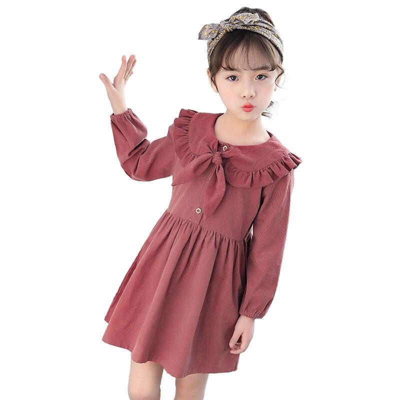 Простое зимнее платье в китайском стиле для маленьких девочек от 3 до 10 лет платье с длинными рукавами и кукольным воротником для девочек осенние платья принцессы, Детский костюм