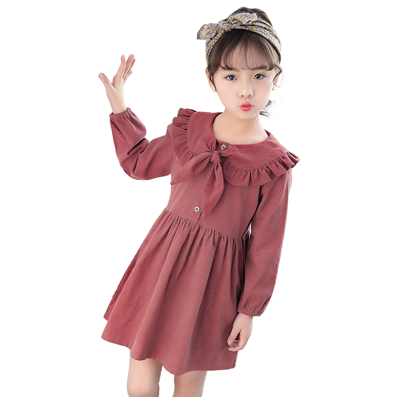 simple chinese style 3 - 10 yrs baby girls winter dress doll-collar girls long sleeve dress autumn princess frocks kids costume