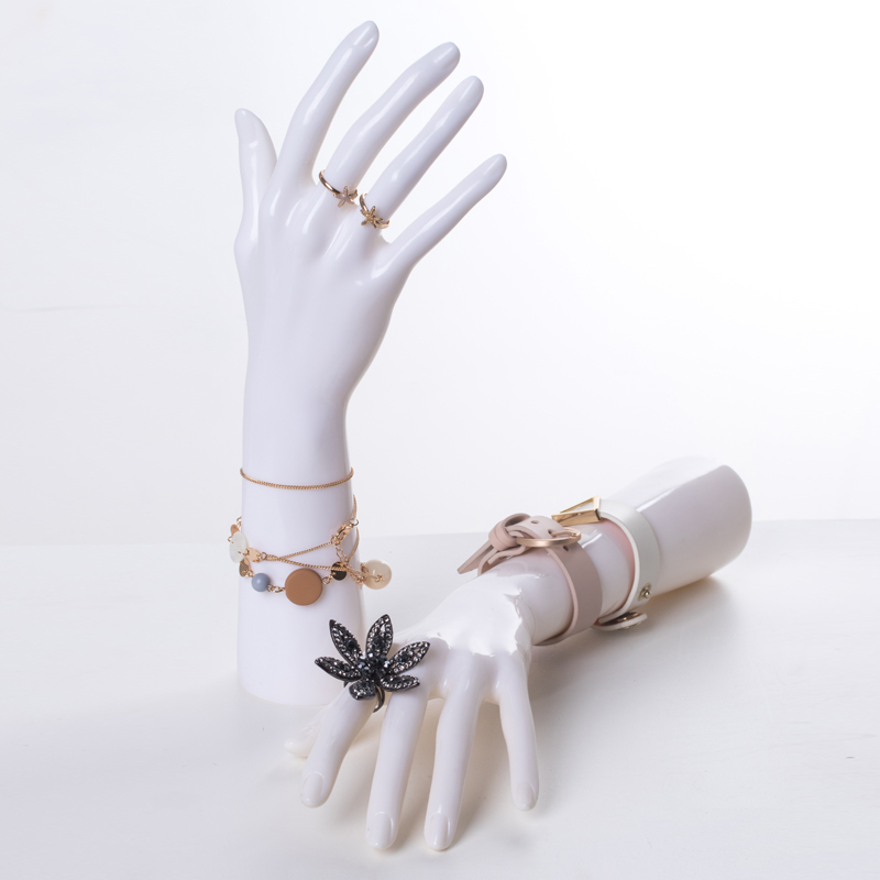 High quality One Pair Realistic White Female Mannequin Dummy Hands,Unbreakable Manikin Hand For Jewelry Ring Display