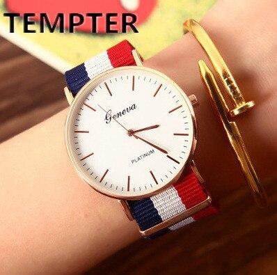 Wholesale 100pcs/lot Watches Men Women Fashion Casual Sport Clock Nylon Ribbon Quartz Wrist Watch Relogio Masculino Feminino