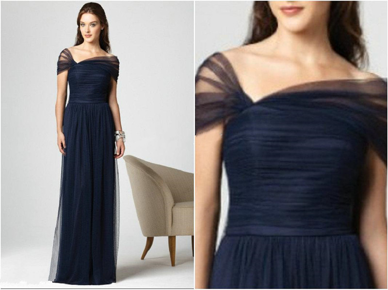 2015 New Arrival Dark Navy Bridesmaid Dresses Stretch Tulle Cap Sleeves  Full Length Pleated Dessy K4-in Wedding Dresses from Weddings   Events on  ... 3882c20fb053