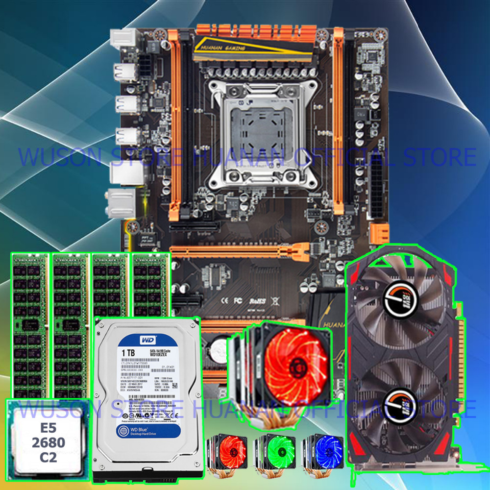 Brand HUANAN ZHI deluxe X79 motherboard with M.2 slot CPU Xeon E5 2680 C2 with cooler RAM 16G(<font><b>4</b></font>*4G) 1TB HDD <font><b>GTX750Ti</b></font> video card image