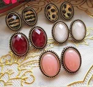 Fashion Hot Selling New Style Vintage Colorful Gem Noble Women  Alloy Stud Earrings E49