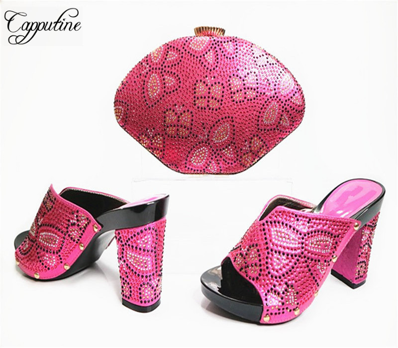 Фотография Capputine Newset African Style Shoes And Bag Set Decorated With Rhinestone Nigerian Party Shoes And Bag Set For Party G31