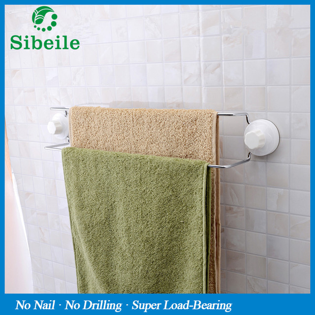 Sble Suction Cup Wall Mounted Bathroom Towel Bar Kitchen Rack Strong Holder