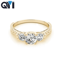 QYI Yellow gold Ring 10K For Woman Engraving Pattern 3 Stone Round Simulated diamond Ring Exquisite Valentine's Day Gift