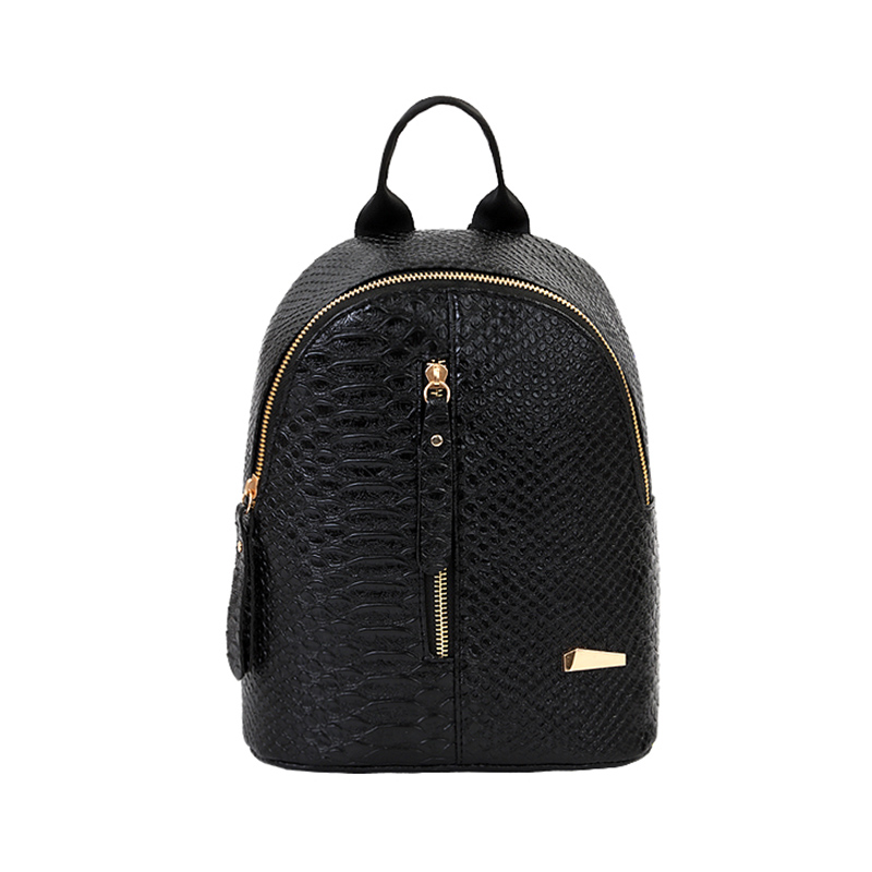 2019 PU Leather Women Backpack Crocodile Pattern Solid School Backpack Female Preppy Style Women Small School Bag Mini Bag Pack