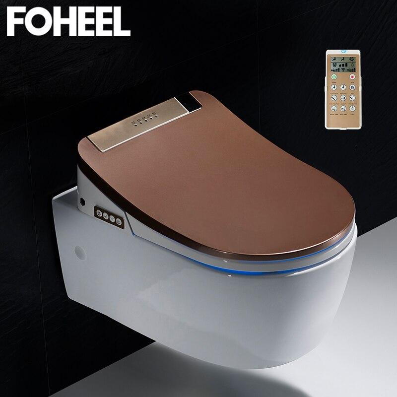 FOHEEL inteligente de alta qualidade tampa de assento do toalete assento bidê eletrônico limpo e seco aquecimento wc tampa de assento do toalete inteligente levou luz