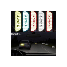 4pcs Universal Reflective Open Sticker Waterproof Car Door Stickers Open Sign Safety Sticker Reflective Safety Warning Tape